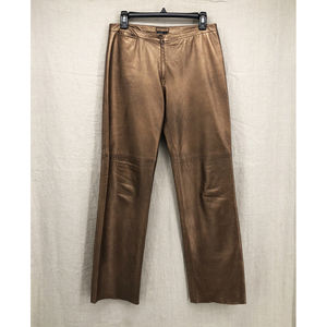 BCBG MAXAZRIA Copper Leather Straight Leg Pants